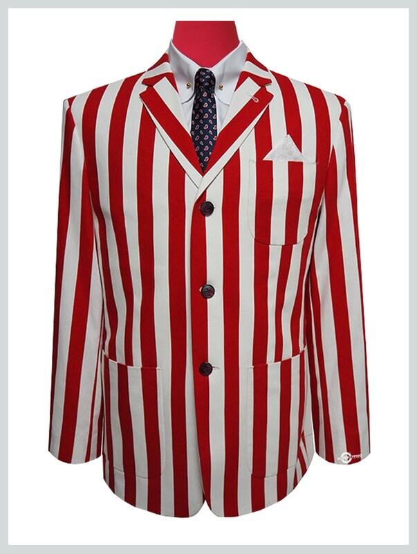 60s Red & White Stripe Boating Blazer Patch Pocket