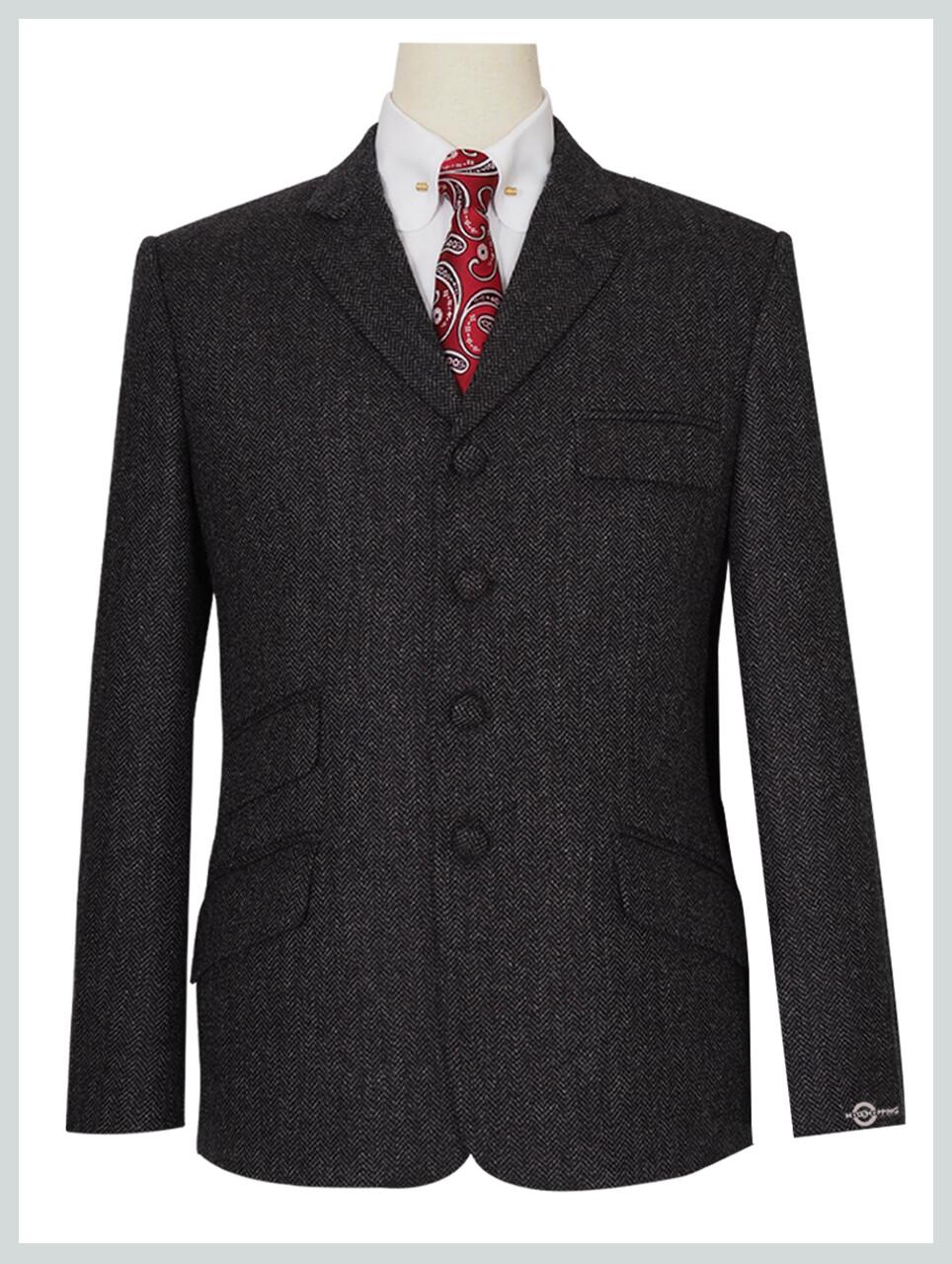 Charcoal Grey 4 Button Herringbone Tweed  Jacket For Man