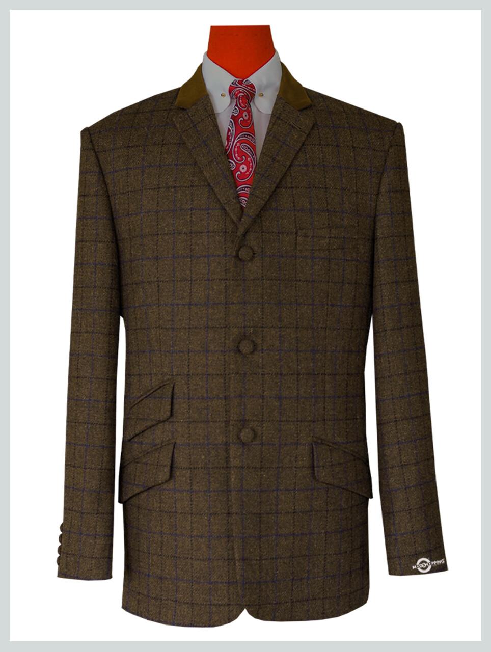 Mens Coffee Brown Windowpane Check Tweed Jacket