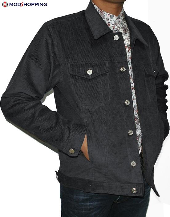 Vintage Grey Corduroy Harrington Jacket