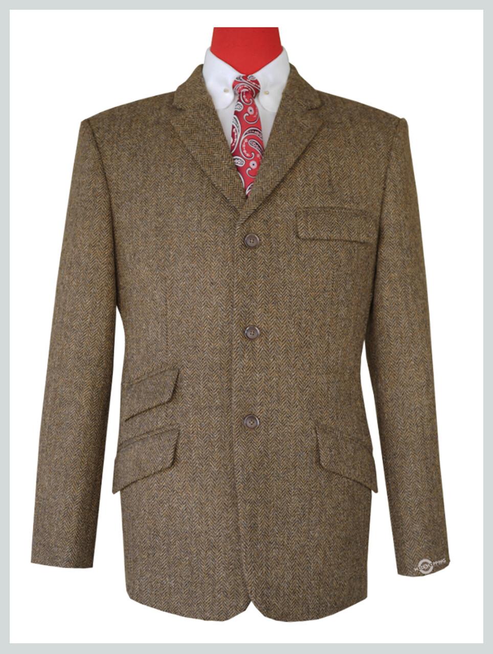 Brown Herringbone Tweed Jacket For Men