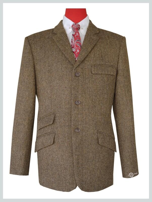Tweed Jacket    Brown Herringbone Tweed Jacket
