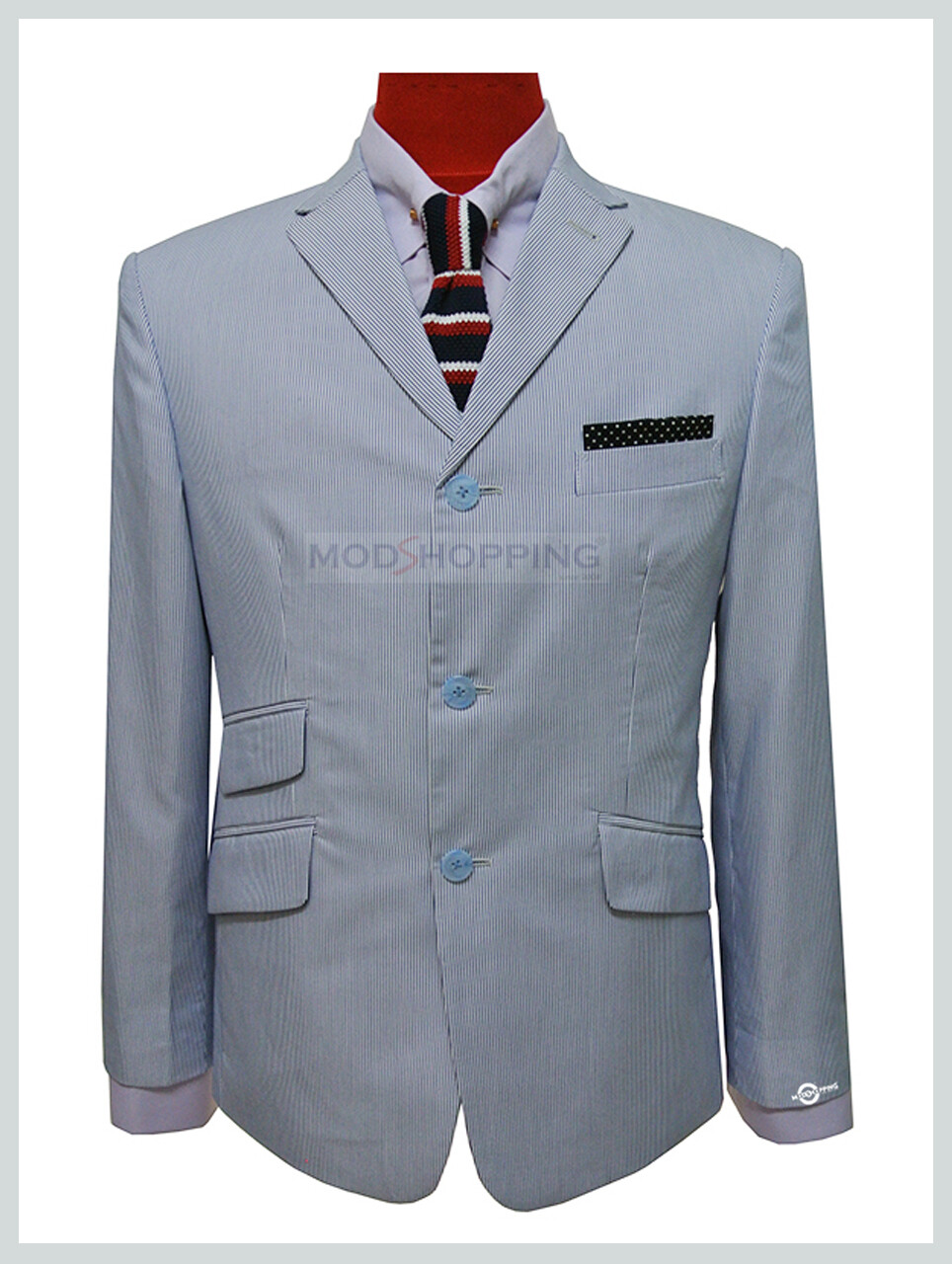 Sky Blue Stripe Summer Blazer Jacket