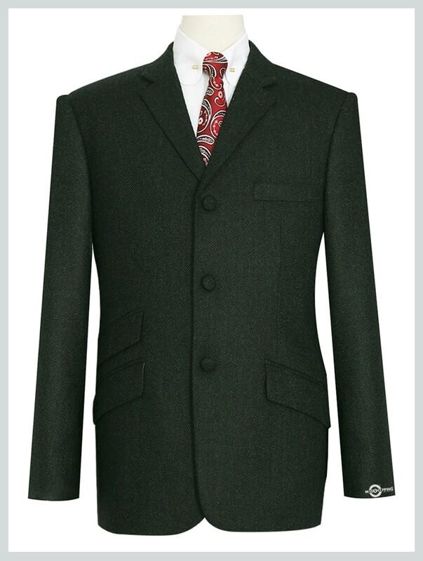 Olive Green Herringbone Tweed Jacket For Men