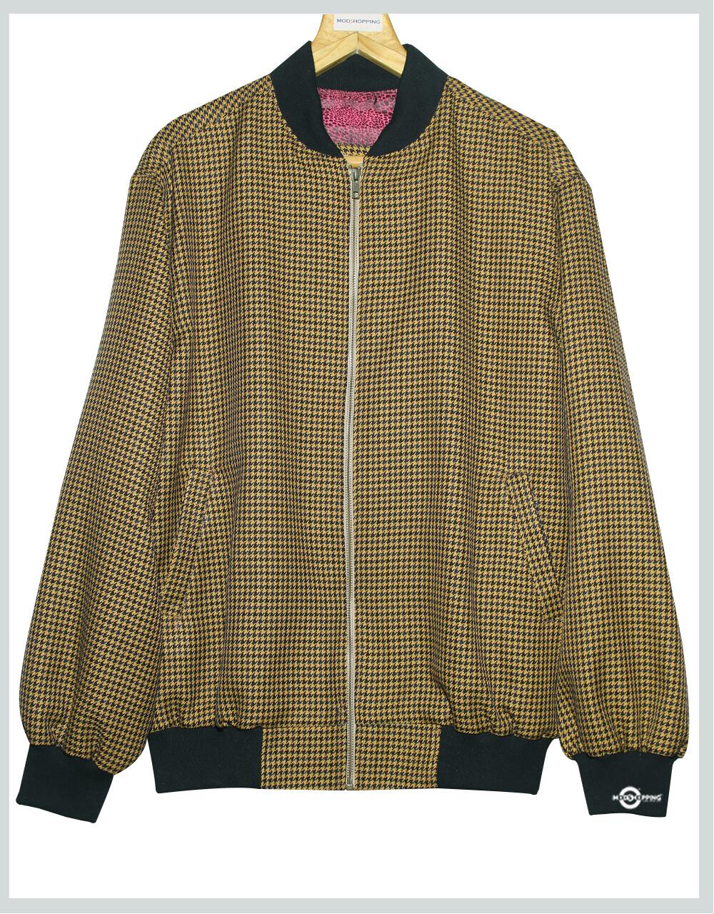Brown & Black Hountooth Bomber Jacket