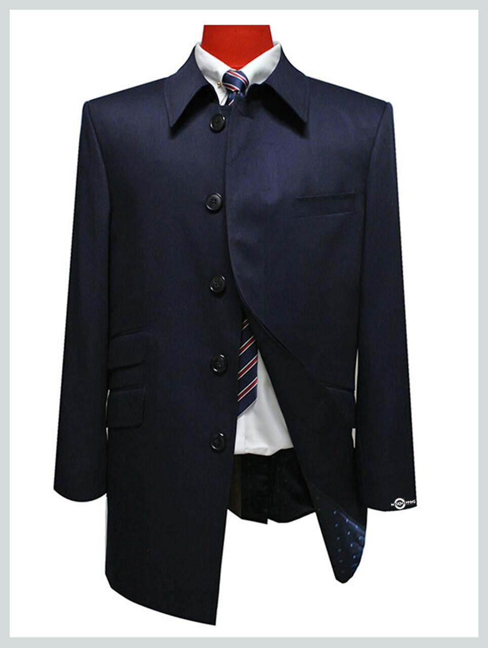 Original Mod Style Tailor Made Vintage Navy Blue Mac Coat For Men
