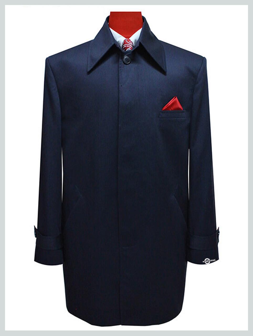 Tailor Made Vintage Style Original Navy Blue Mac Coat For Men