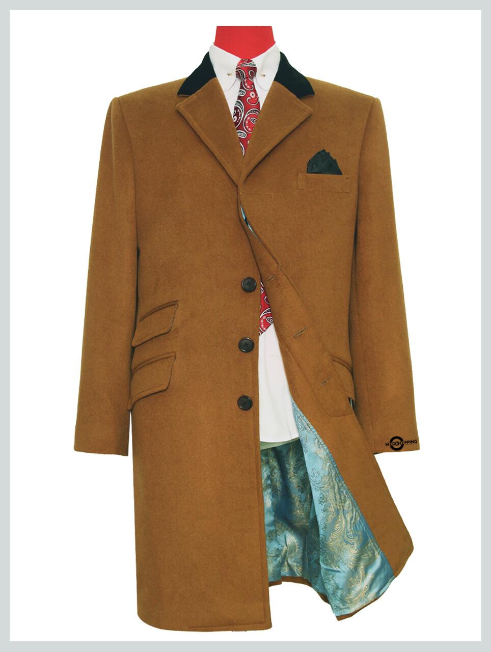 Overcoat Mens  60s Mod Winter Wool Camel Over Coat