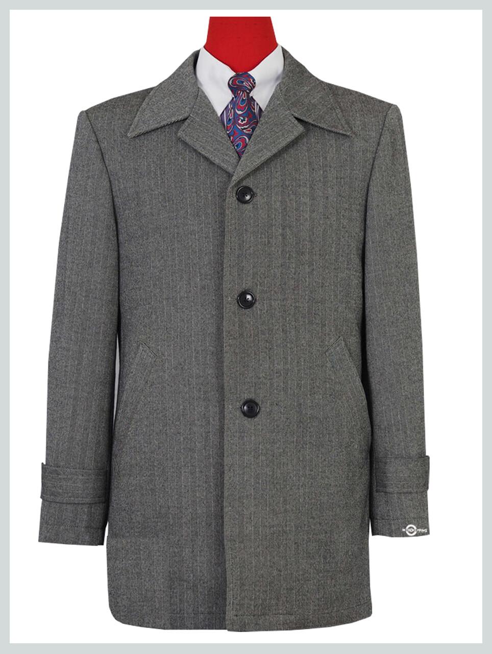 Original Vintage 60s Retro Grey Herringbone Tweed Short Overcoat For Men