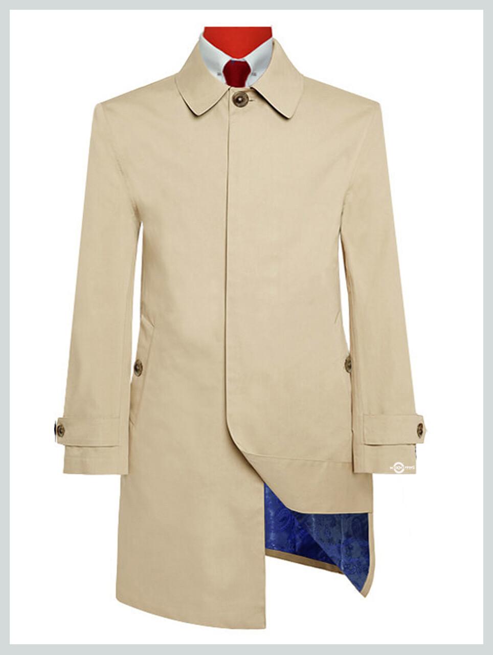 Mac Coat Mens| Mod Style Cotton Twill Beige Colour Mac Coat