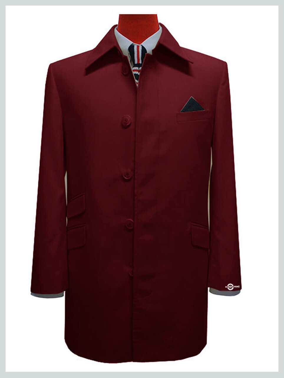Mac Coat Mens| Burgundy Retro Mod Mac Coat For Men