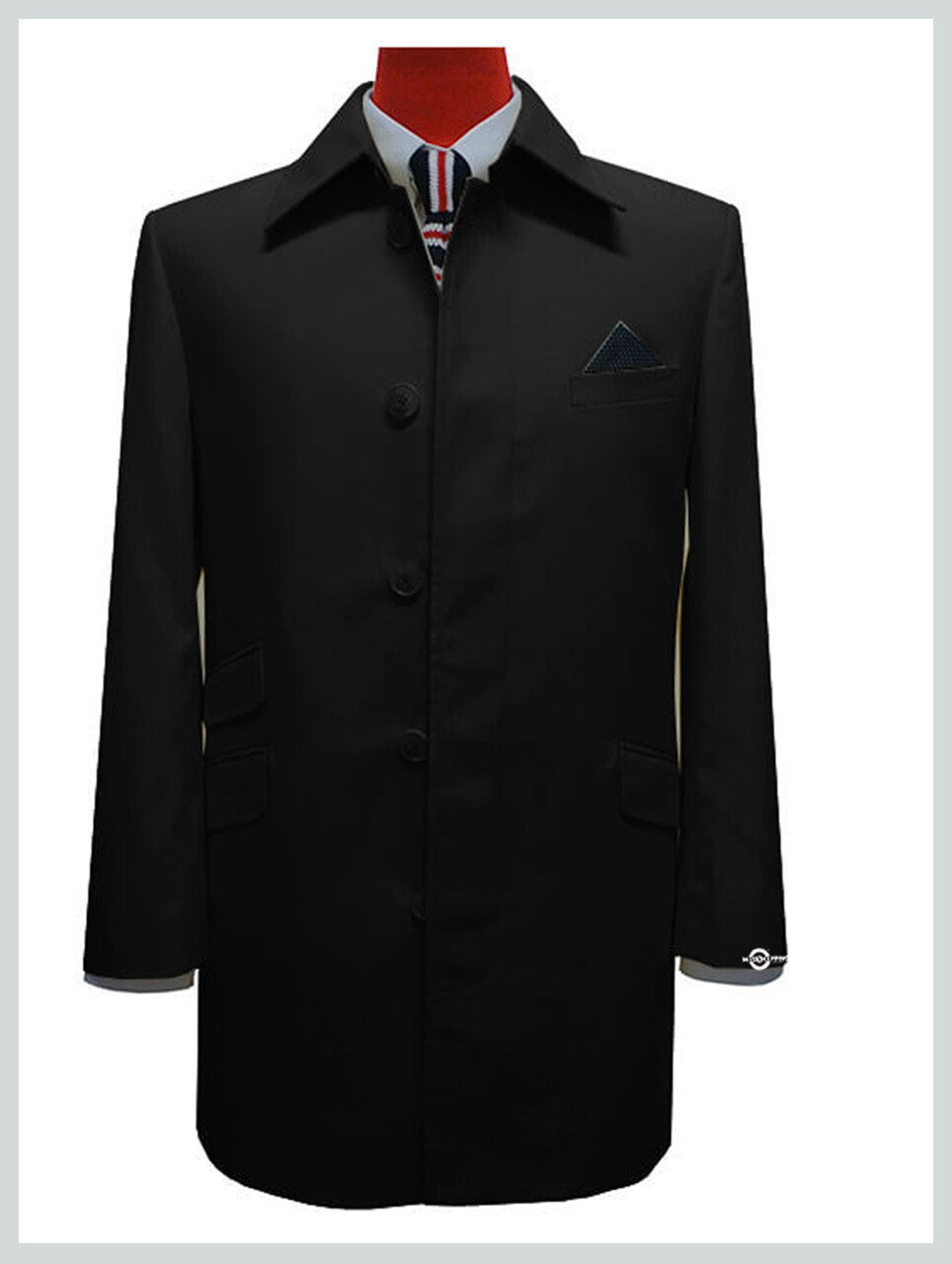 Vinatage Style Slim Fit Tailore Made Black Mac Coat For Men