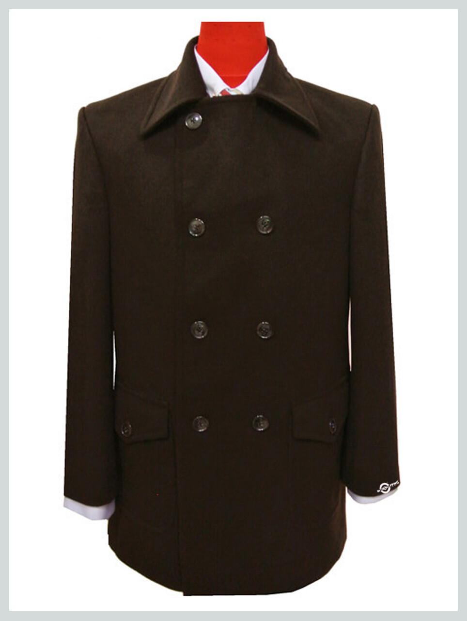 pea coat| tailore mede retro style chocolate colour pea coat mens