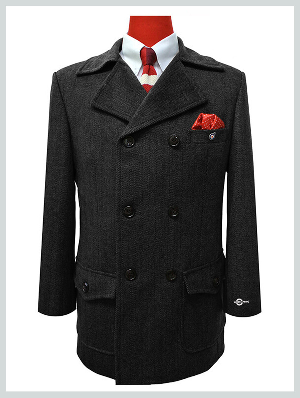 Pea Coat  Tailored Made 1960'S Retro Grey And Black Pea Coat Men's