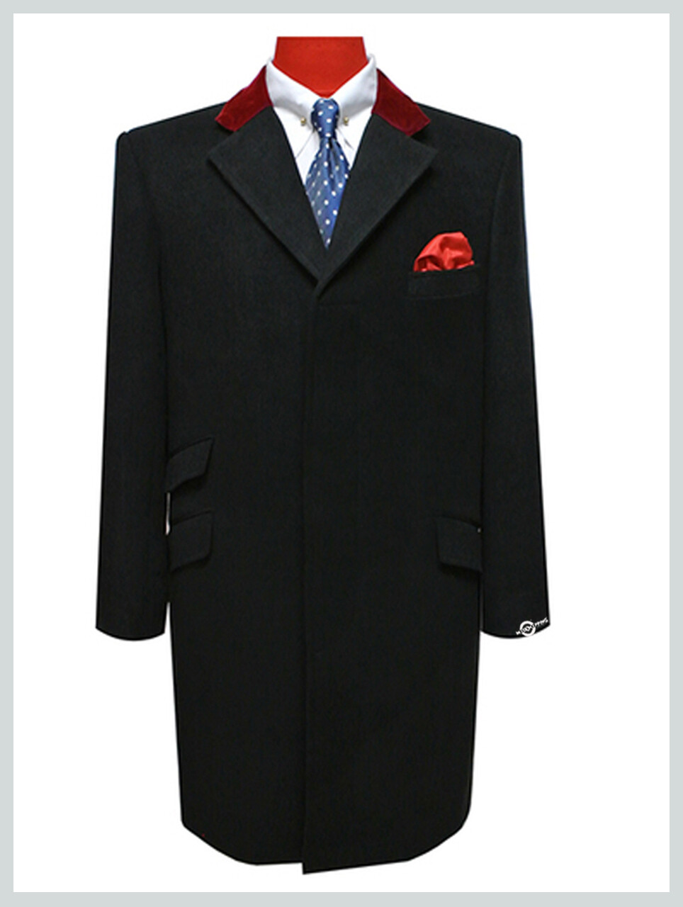 Overcoat| Original Vintage Style Maroon Velvet Black Men's Winter Coat