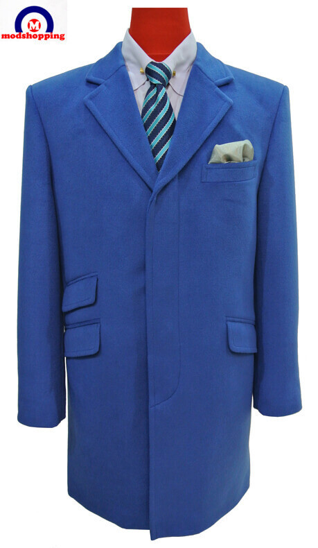 overcoat| tailor made 100% wool blue winter long over coat for men