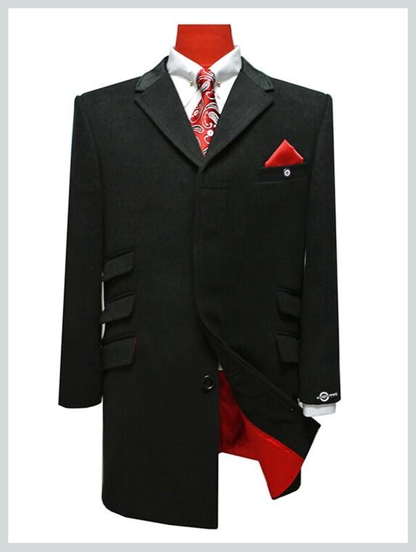 original 60s mod black long mens winter overcoat for men