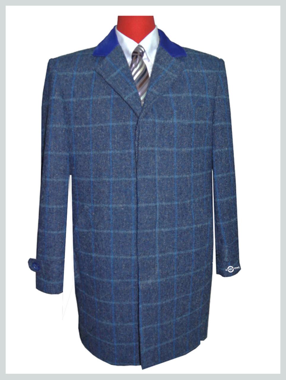 Overcoat| Vintage Blue Long Wool Coat For Men