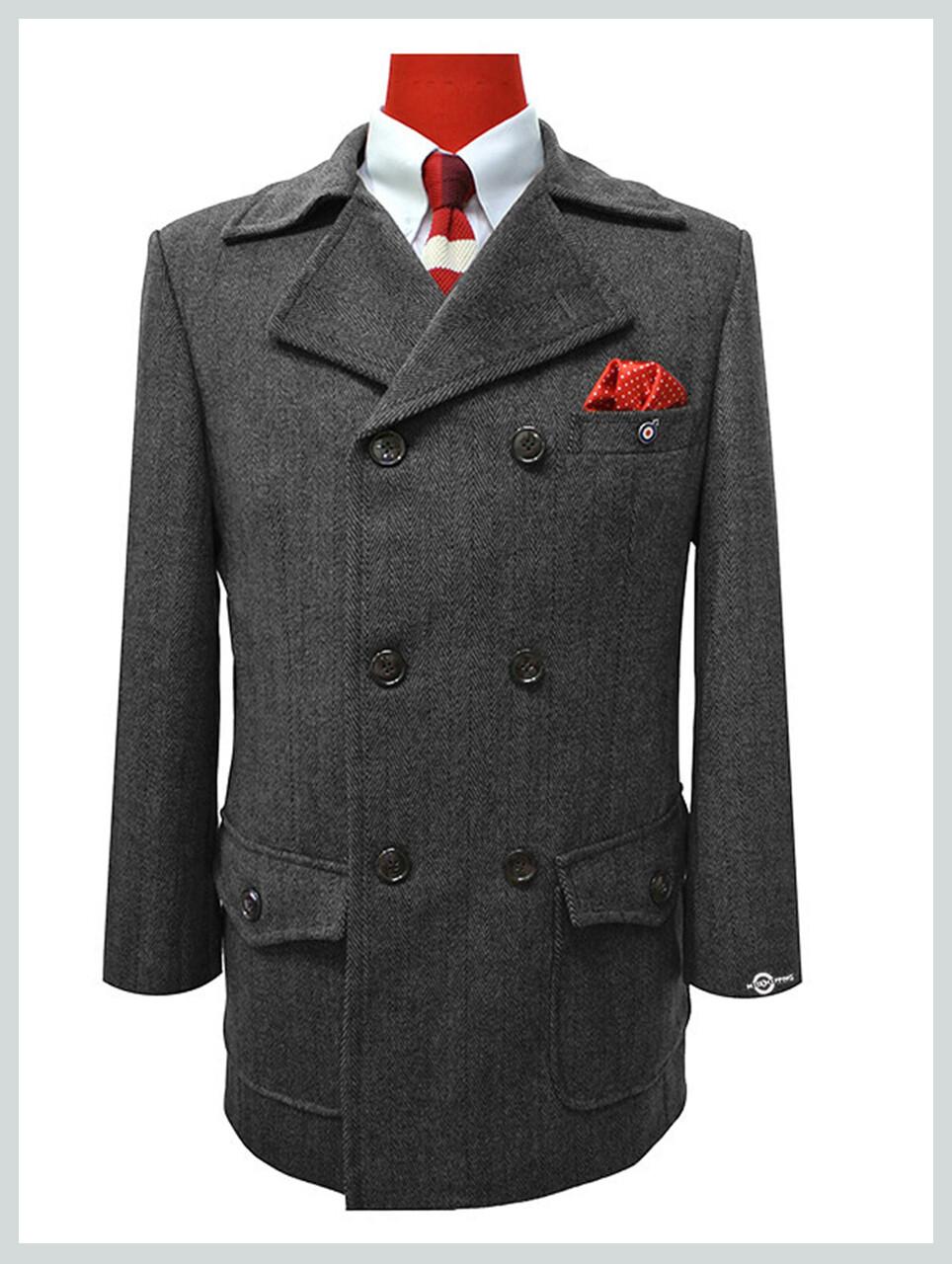 Pea Coat| Mod Clothing 1960s Style Vintage Grey Pea Coat