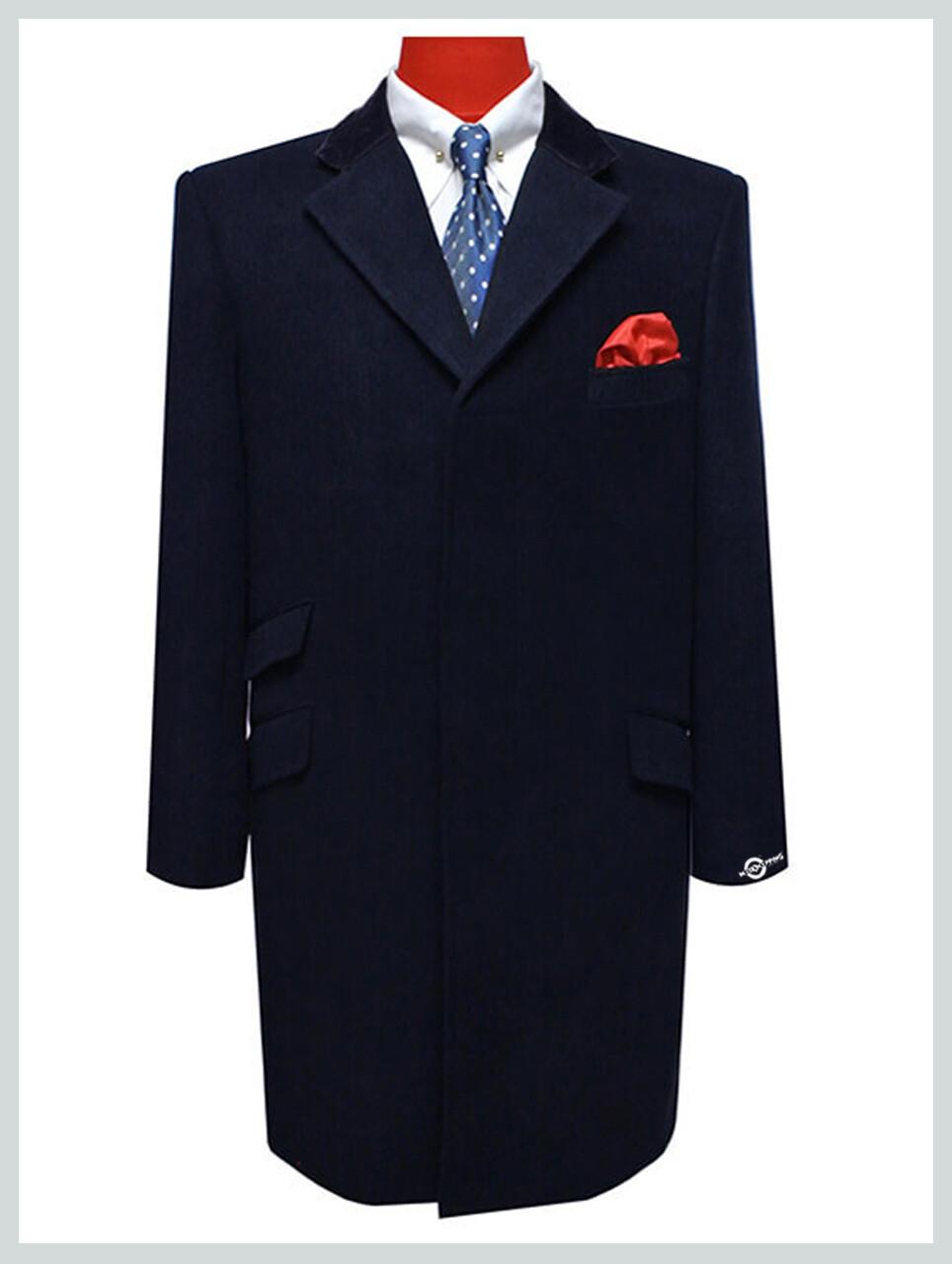Overcoat Mens  100% Wool Navy Blue Vntage Long Mens Winter Coat