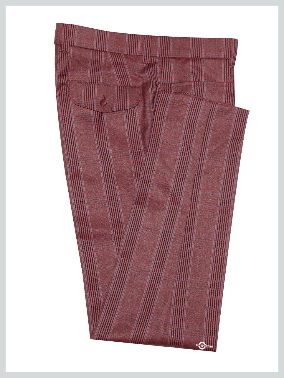 Burnt Red Check Trouser For Man
