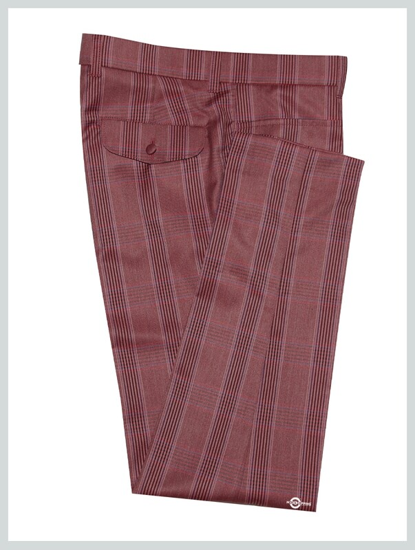 Burnt Red Check Trouser For Man