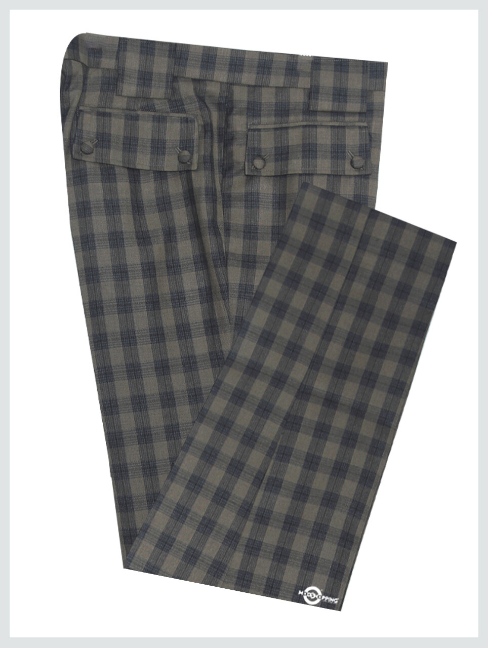 Beige & Black Check Trouser For Men's