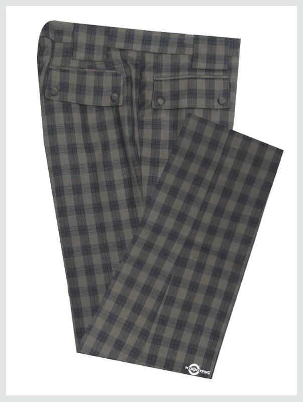 Beige & Black Check Trouser For Men's