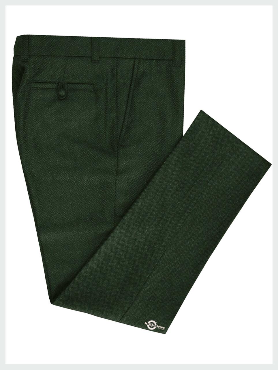 Mod Trouser | Dark Green Tweed Trouser For Men