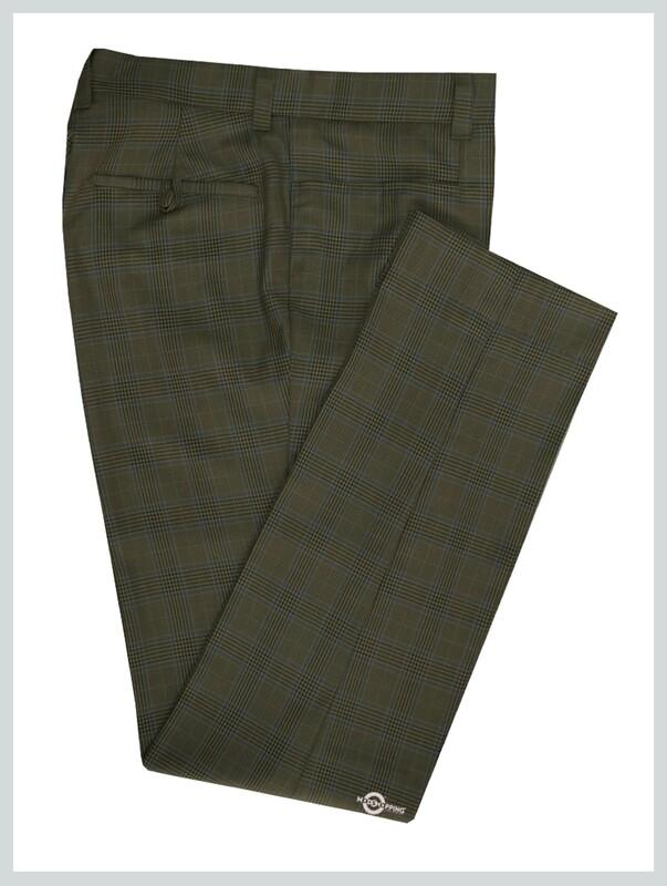 Men Trouser | Dark Khaki Prince Of Check Trouser