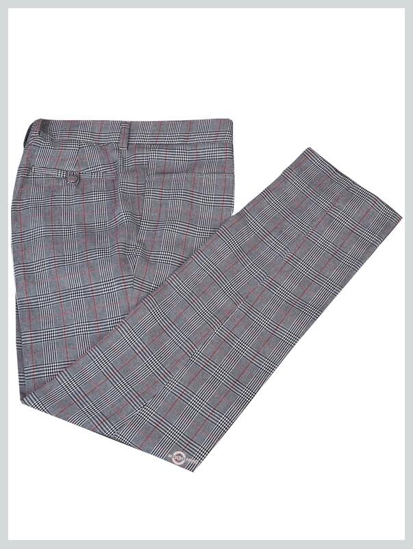 Light grey pow check trouser for man