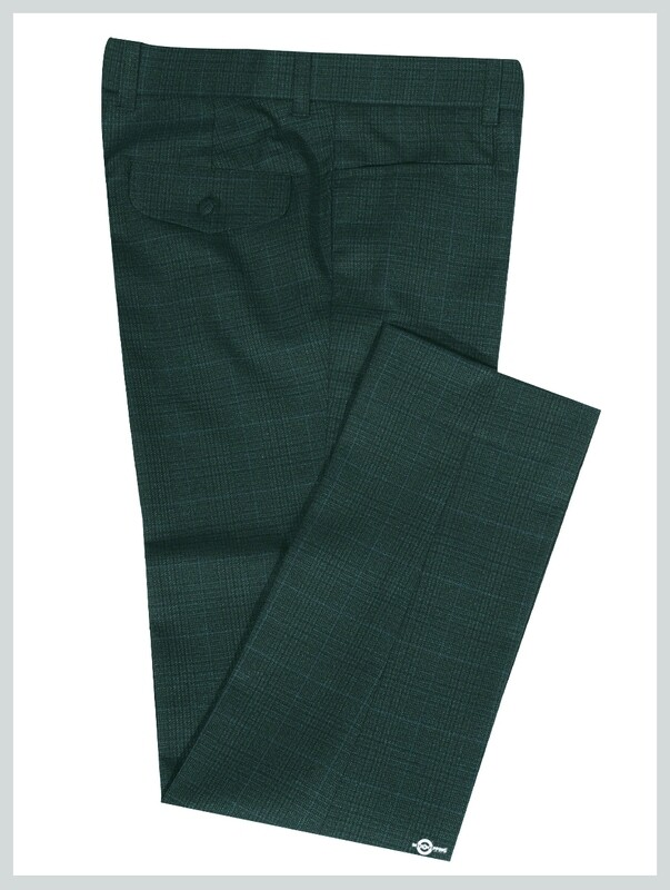 Olive Green Tweed Pow Check Trouser For Man