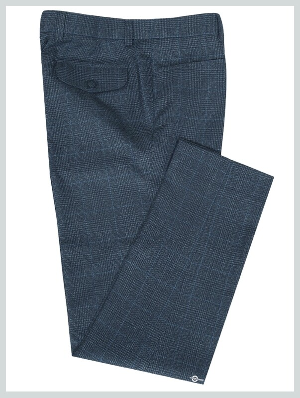 Charcoal Grey Tweed Pow Check Trouser For Man