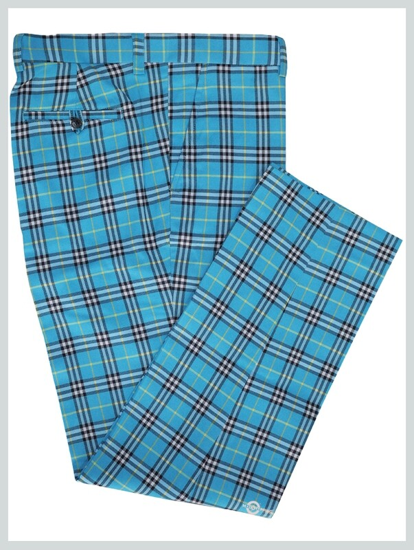 Check Trouser| Madras Check Turquoise Mens Trouser