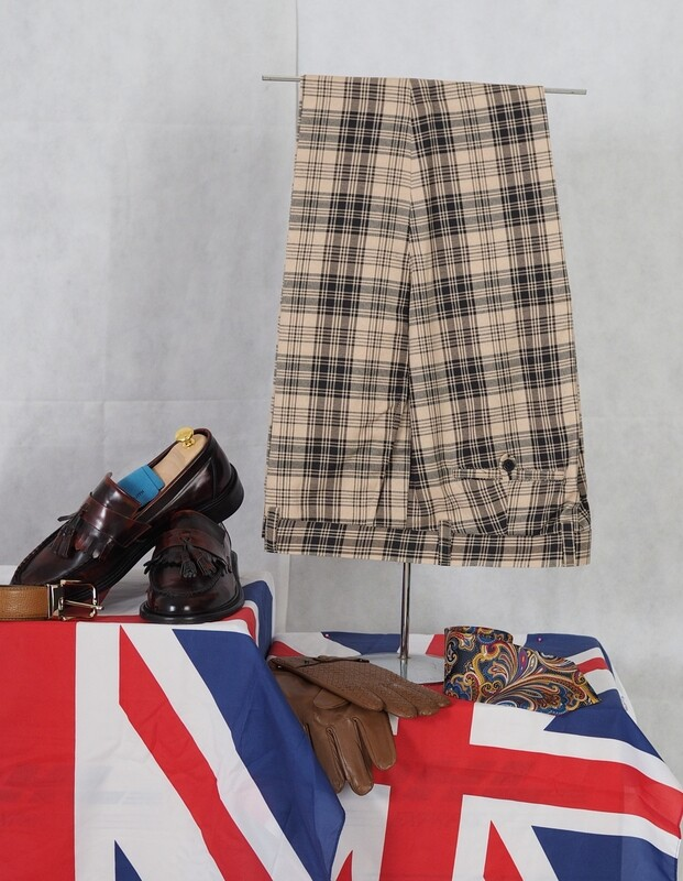 Check Trouser| Madras Check Beige & Black Trouser Mens