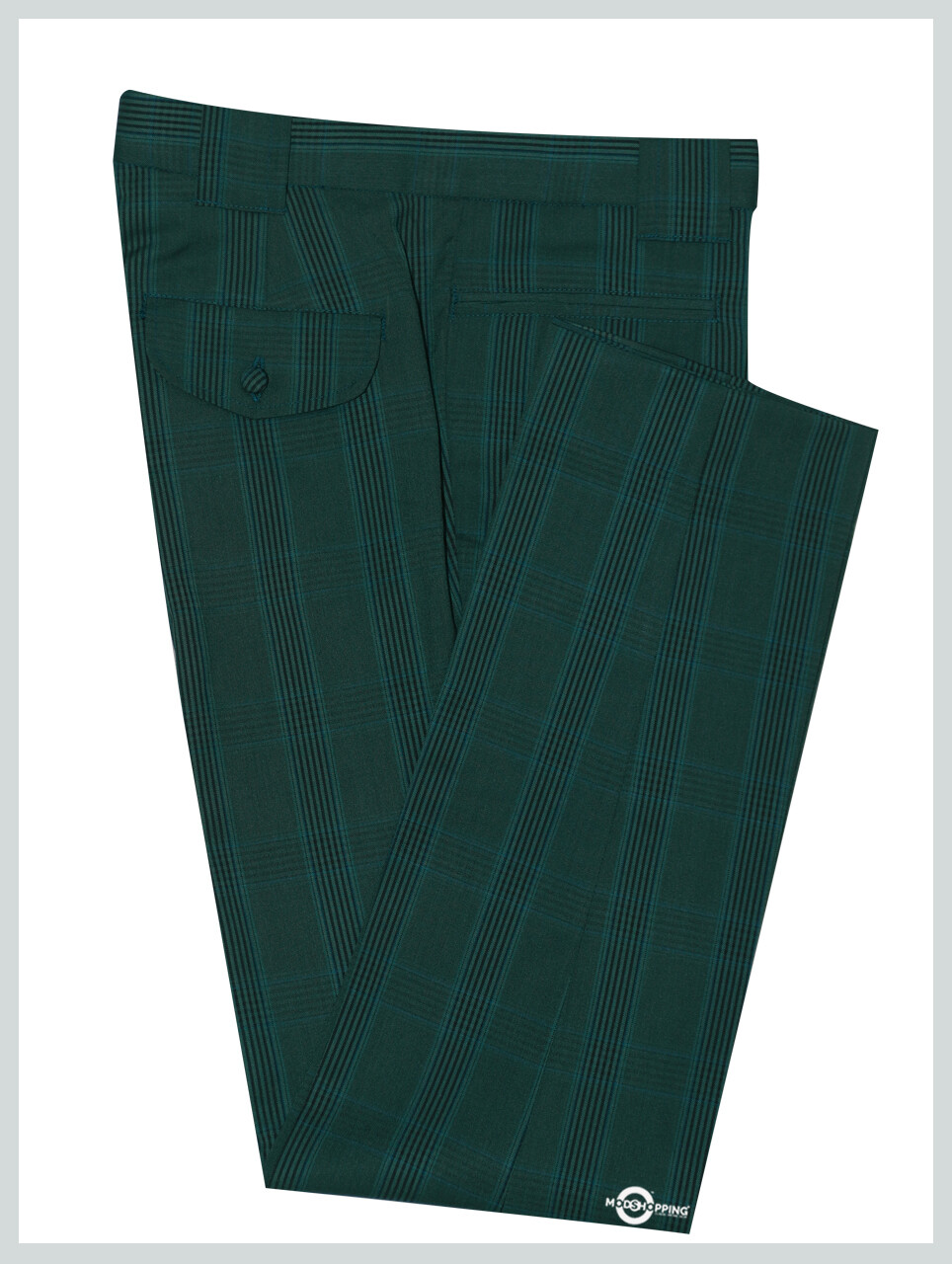 Mod Trouser | Olive Green Prince Of Wales Check Trouser