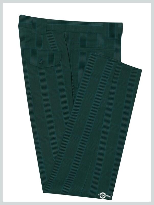 Suit Trouser| Olive Green Check Men's Trouser