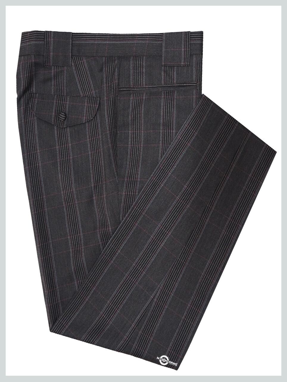Men's Trouser| Burgundy Check In Charcoal Grey Trouser Men's