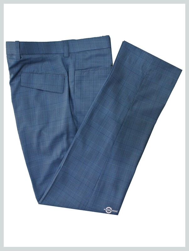Check Trouser| 60s Mod Style Prince of Wales Check Sky Trouser