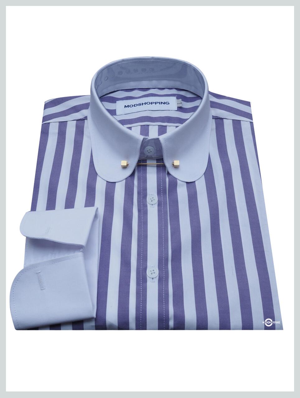 Pin Collar Shirt | Purple White Stripe Shirt For Men