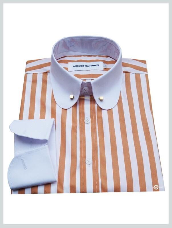 Pin Collar Shirt | Orange White Stripe Shirt For Men