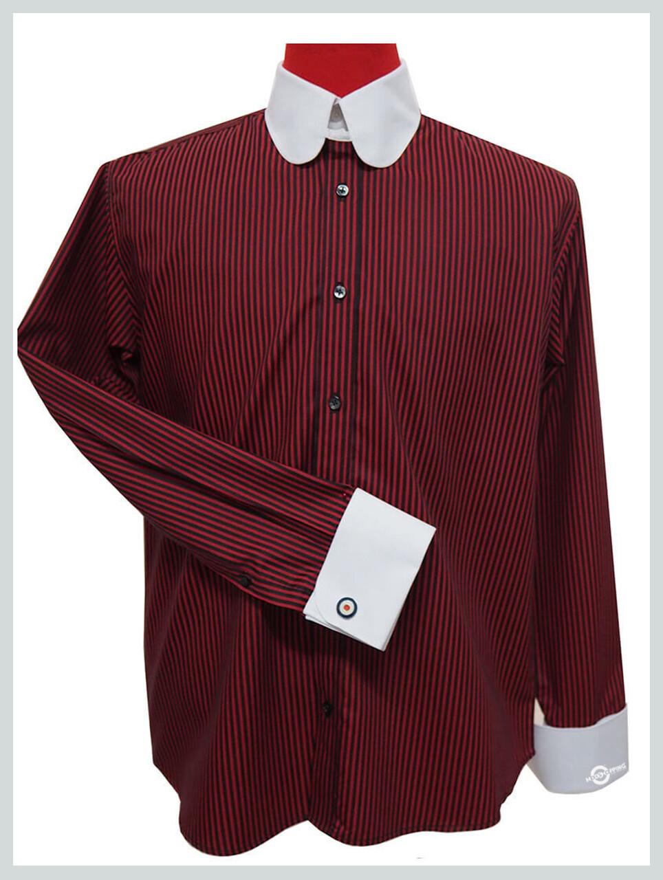 Tab Collar Shirt| Burgundy & Black Stripe Wedding Shirt