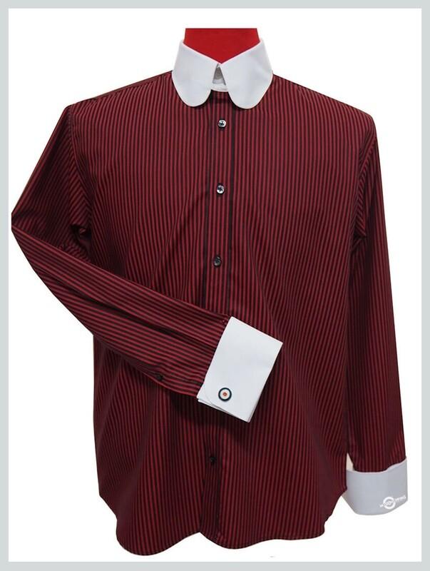 Tab Collar Shirt  Burgundy & Black Stripe Wedding Shirt