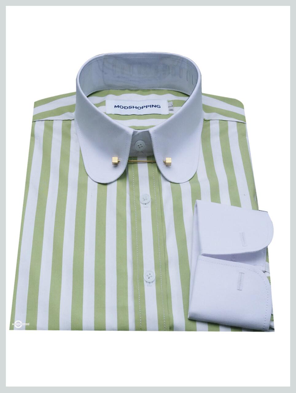 Pin Collar Shirt | Green White Stripe Shirt For Men
