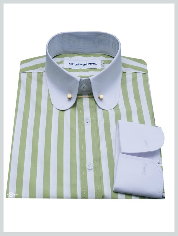 Pin Collar Shirt   Green White Stripe Shirt For Men