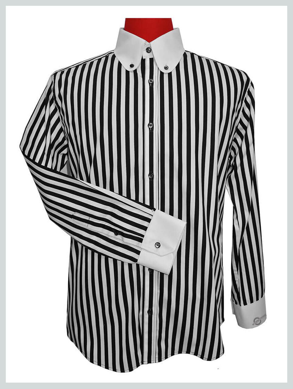 Black Stripe Shirt  Penny Collar Mod Shirt