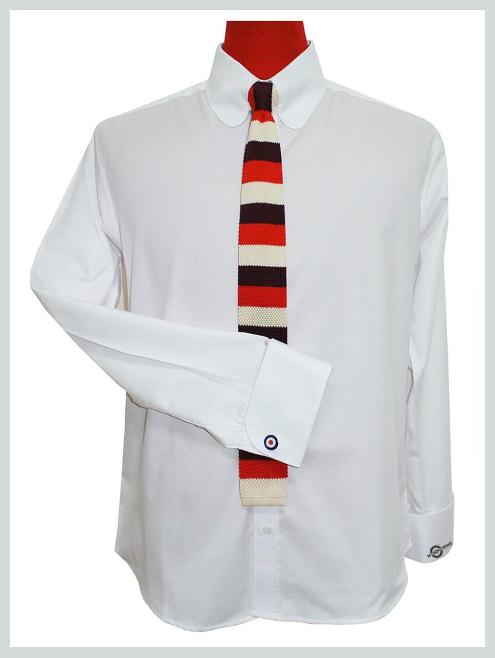 Tab Collar Shirt| 60s Style White Tab Collar Shirt For Men