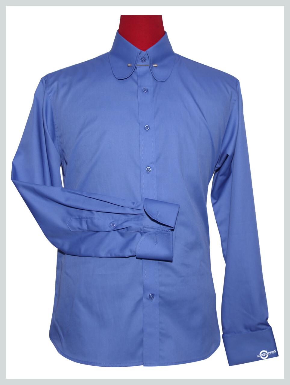 Penny Pin Collar Shirt  Tailor Made Mens Long Sleeve Sky Blue Shirt