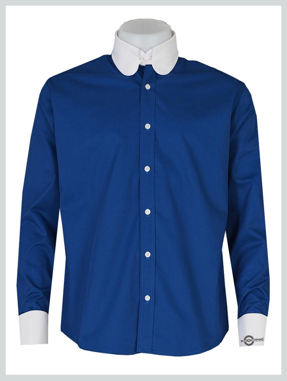 Long Sleeve Blue Colour Penny Tab Collar Formal Shirt
