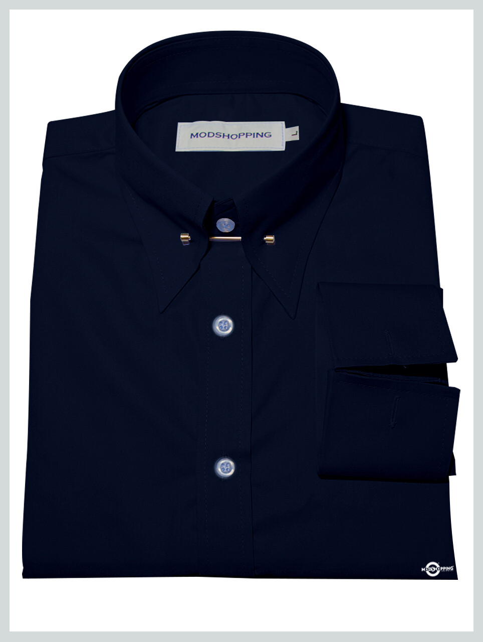 Dark Navy Blue Pin High Collar Shirt